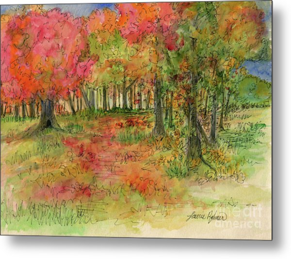 Autumn Forest Watercolor Illustration Metal Print
