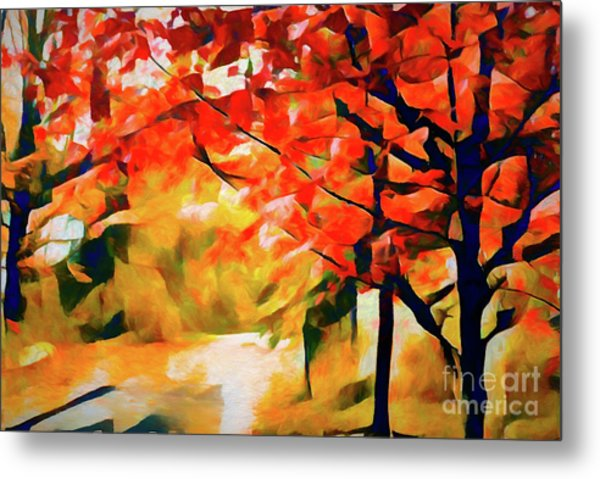 Glorious Foliage On The Rail Trail - Abstract Metal Print
