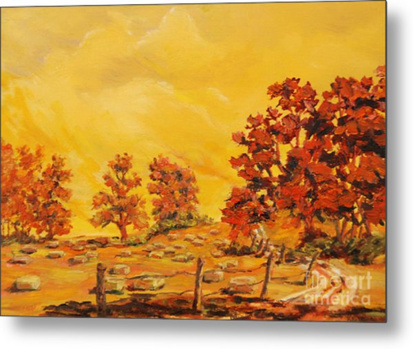 Autumn Haying Metal Print