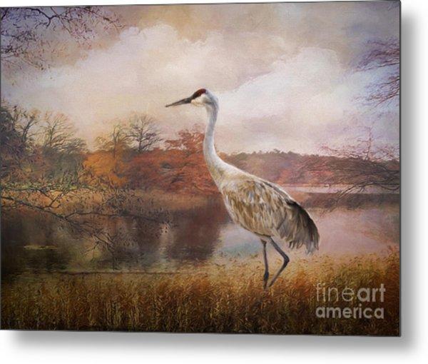 Autumn Lake Crane Metal Print