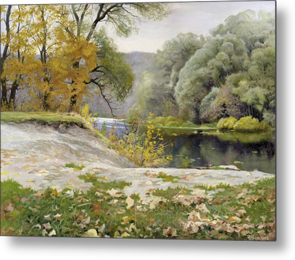 Metal Print featuring the painting Autumn Landscape In The Vicinity Of Eshar by Denis Chernov