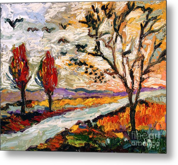Autumn Landscape Oil Painting Heading South Metal Print by Ginette Callaway