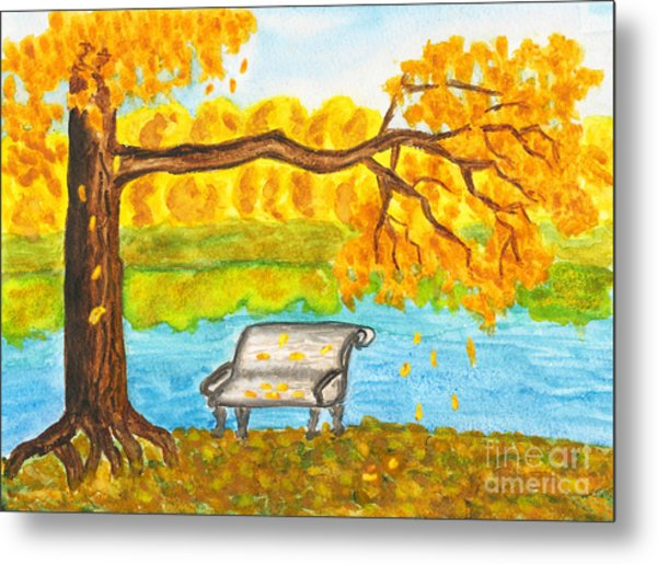 Autumn Landscape With Tree And Bench, Painting Metal Print