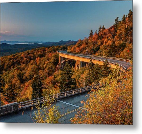 Morning Sun Light - Autumn Linn Cove Viaduct Fall Foliage Metal Print
