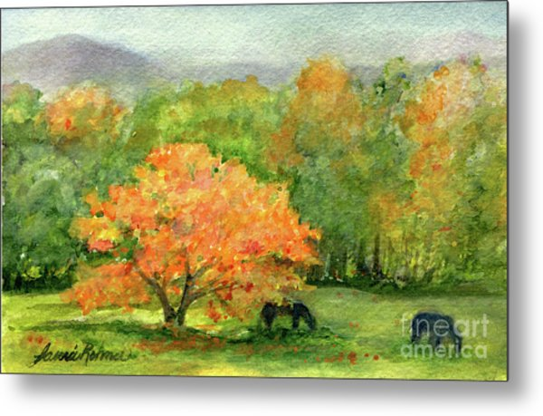 Autumn Maple With Horses Grazing Metal Print