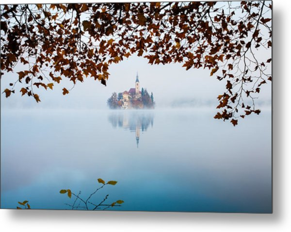 Autumn Mist Over Lake Bled Metal Print