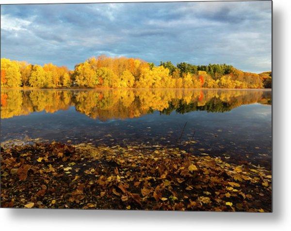 Autumn Morning Reflection On Lake Pentucket Metal Print