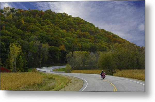 Autumn Motorcycle Rider / Red Metal Print