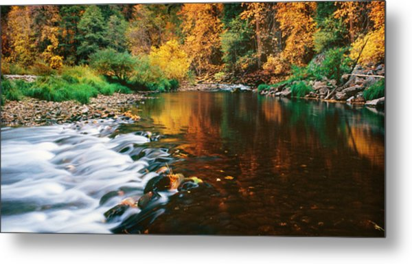 Autumn On The Merced River Yosemite Np Metal Print by Edward Mendes