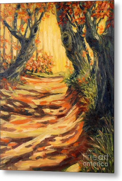 Autumn Pathways Metal Print