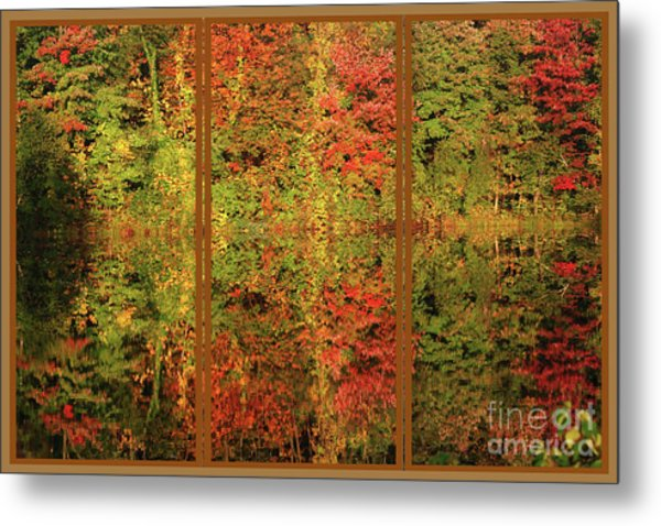 Autumn Reflections In A Window Metal Print