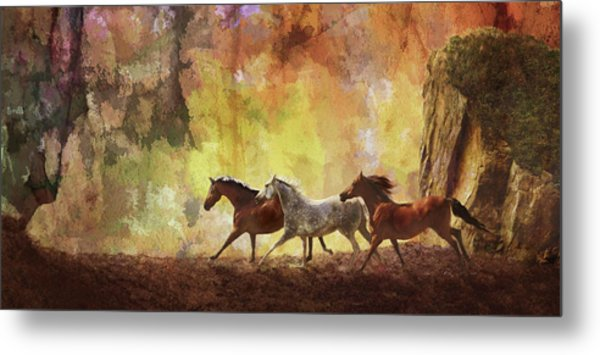 Autumn Run Metal Print
