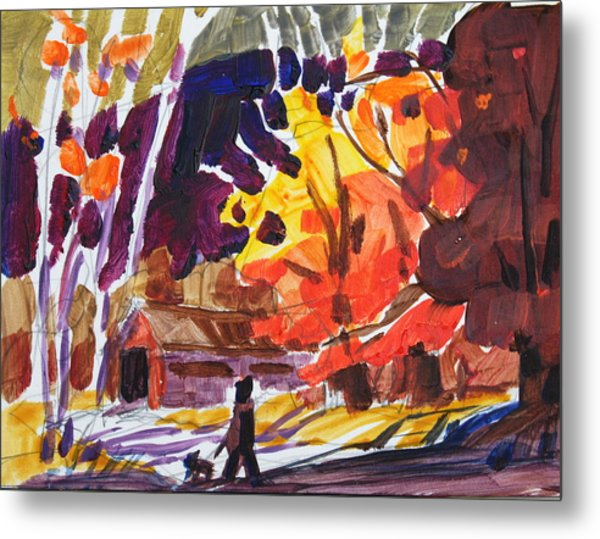 Autumn Sketch Metal Print by Len Stomski