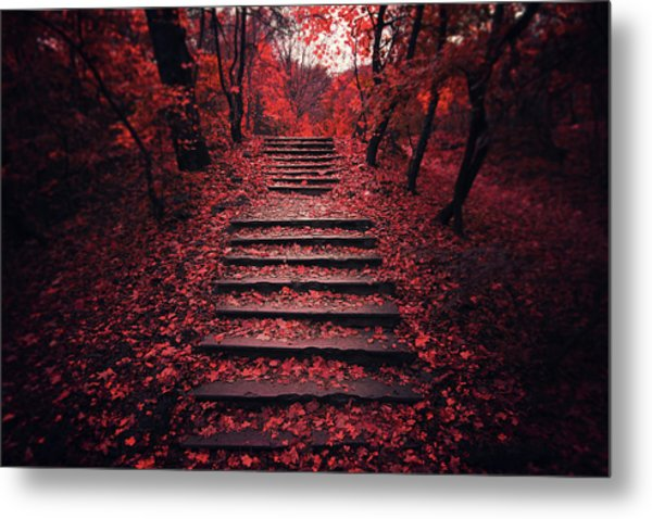Autumn Stairs Metal Print