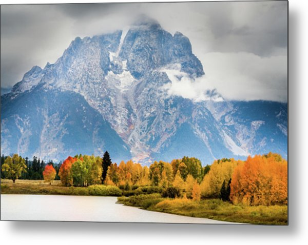 Autumn Storm Over Mount Moran Metal Print