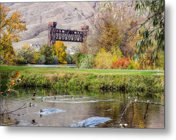 Autumn Train Bridge Metal Print