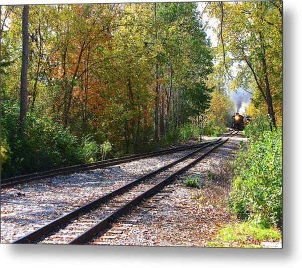 Autumn Train Metal Print