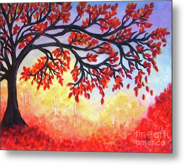Metal Print featuring the painting Autumn Tree by Sonya Nancy Capling-Bacle