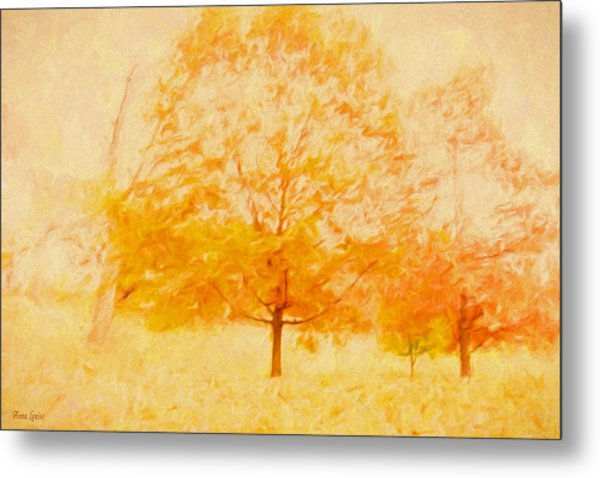 Autumn Trees Abstract Metal Print