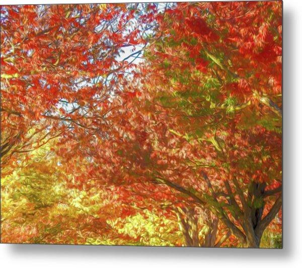 Autumn Trees Digital Watercolor Metal Print