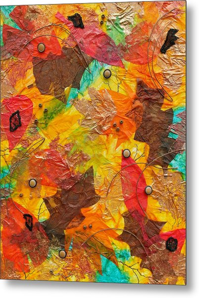 Autumn Leaves Underfoot Metal Print