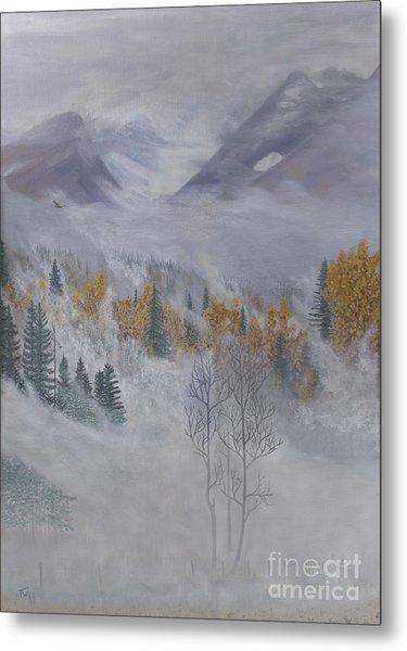 Autumn Valley Mist Metal Print