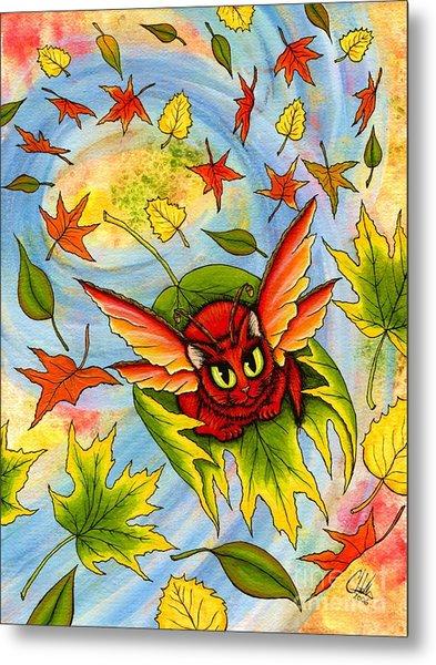 Autumn Winds Fairy Cat Metal Print