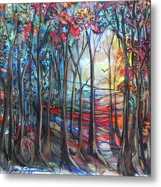 Autumn Woods Sunrise Metal Print