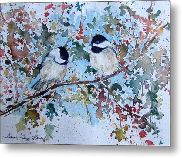 Autumnal Lovebirds Metal Print