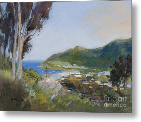 Avalon Harbor - Taking The High Road Catalina Island Oil Painting Metal Print by Karen Winters
