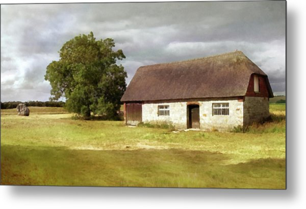 Avebury Cottage Tree And Standing Stone Metal Print