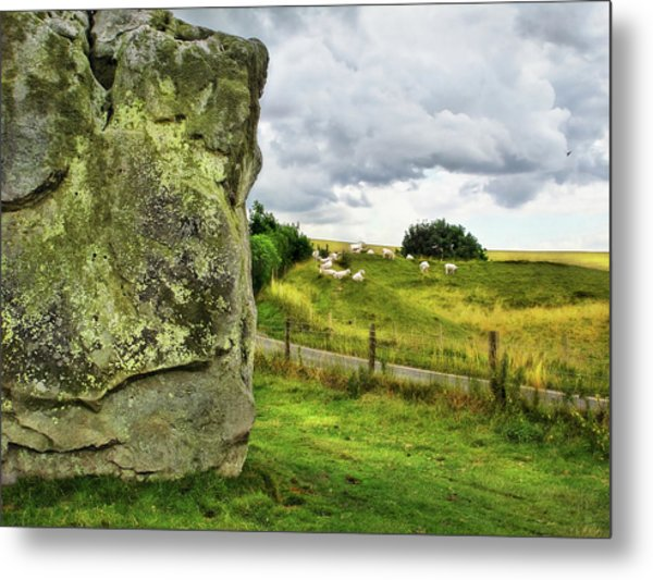 Avebury Standing Stone And Sheep Metal Print