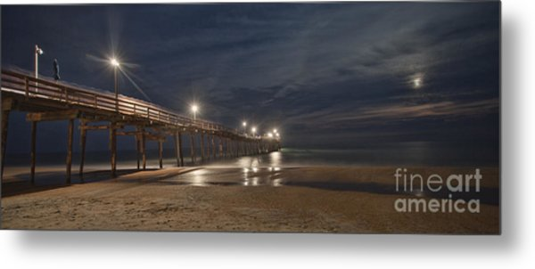 Avon Pier At Night Metal Print