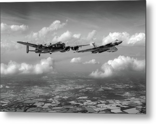 Metal Print featuring the photograph Avro Sisters Bw Version by Gary Eason