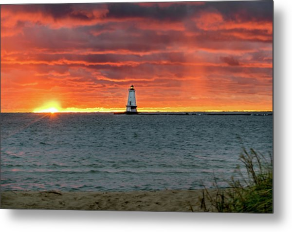 Awesome Sunset With Lighthouse  Metal Print