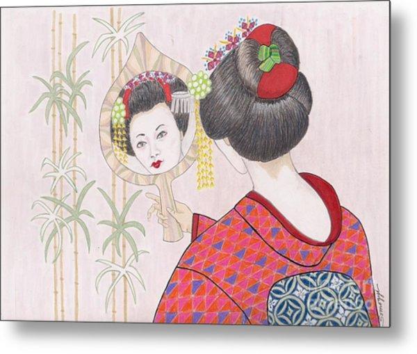 Ayano -- Portrait Of Japanese Geisha Girl Metal Print