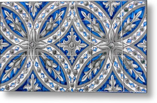Azulejo - Blue Floral Decoration  Metal Print