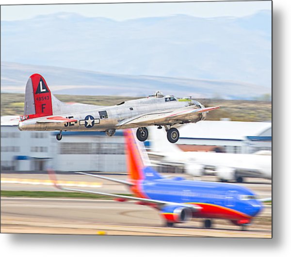 Metal Print featuring the photograph B-17 Bomber by Dart and Suze Humeston