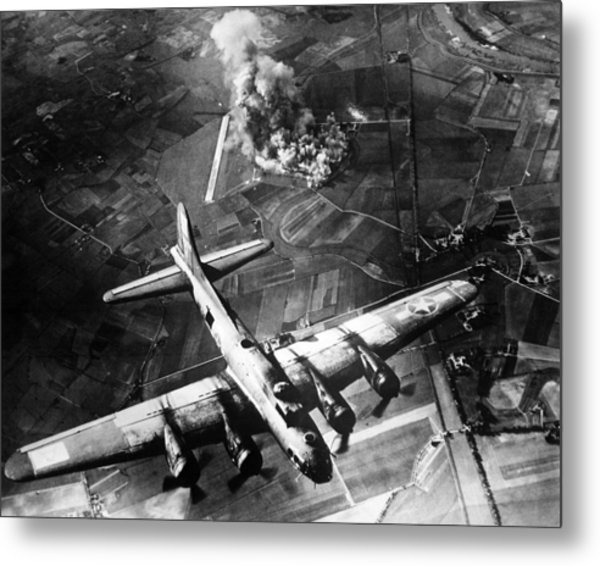 B-17 Bomber Over Germany  Metal Print