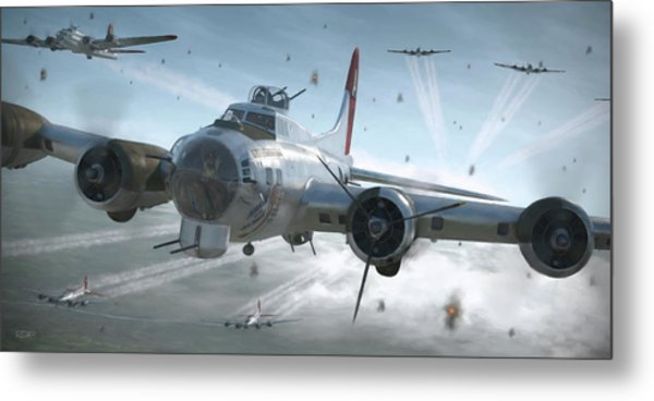 B-17g Hikin' For Home - Painterly Metal Print