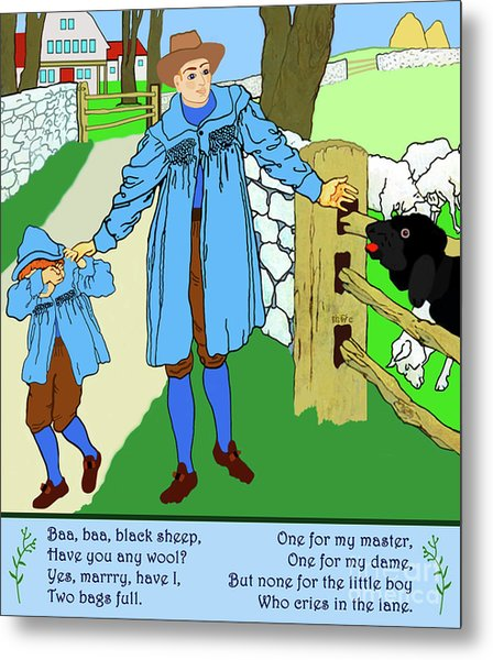 Baa, Baa, Black Sheep Nursery Rhyme Metal Print