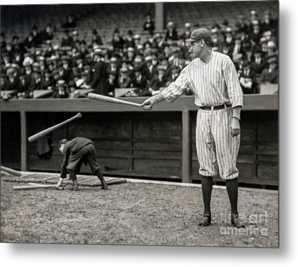 Babe Ruth At Bat Metal Print