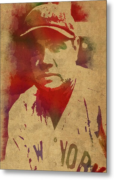 Babe Ruth Baseball Player New York Yankees Vintage Watercolor Portrait On Worn Canvas Metal Print