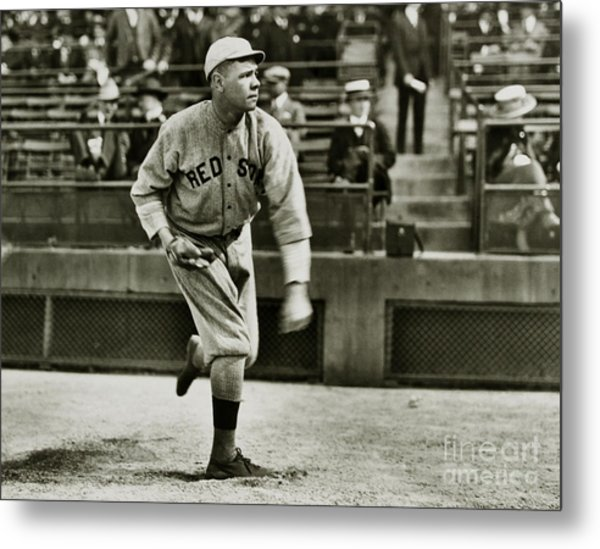 Babe Ruth Pitching Metal Print