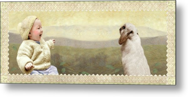 Baby And Bunny Talk Metal Print