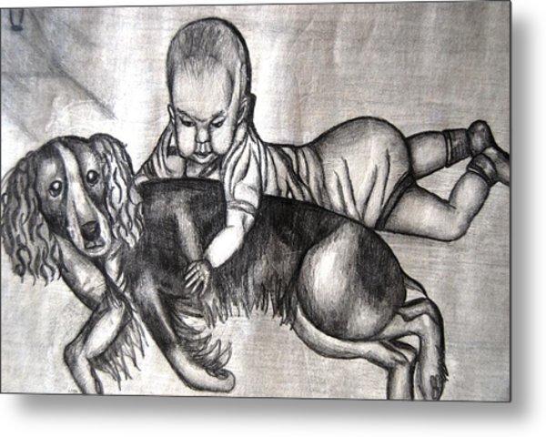 Baby And Dog Metal Print
