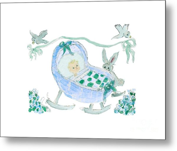 Metal Print featuring the painting Baby Boy With Bunny And Birds by Claire Bull
