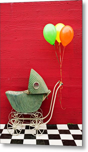 Baby Buggy With Red Wall Metal Print
