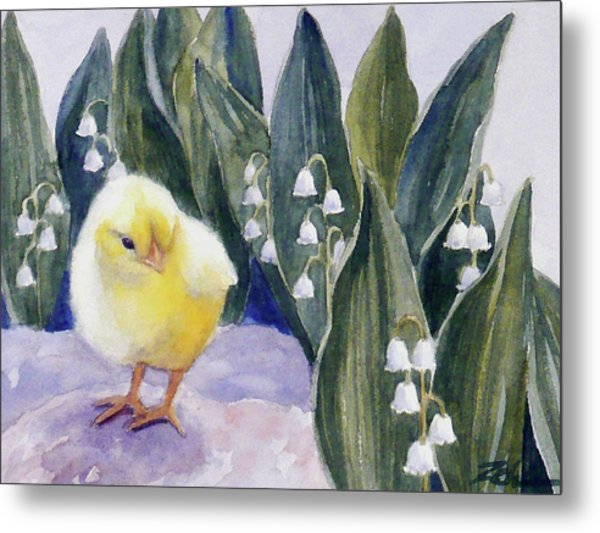 Baby Chick And Lily Of The Valley Flowers Metal Print