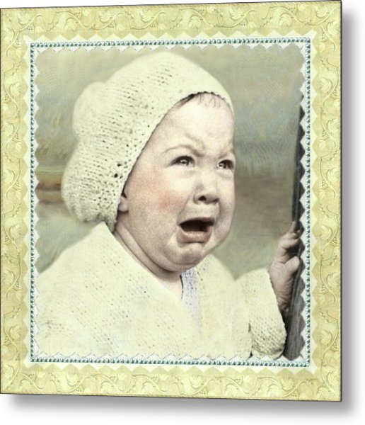 Baby Cries Metal Print
